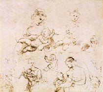 Several studies of a Madonna and Child  von Raphael