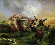 Moroccan horsemen in military action von Ferdinand Victor Eugene Delacroix