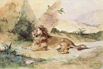A Lion in the Desert by Ferdinand Victor Eugene Delacroix