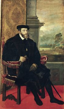 Seated Portrait of Emperor Charles V  by Titian