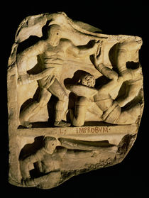 Relief depicting a samnite defeating a retiarius  von Roman