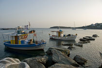 Fishing vessels at twilight in Andros by Thierry  Dehesdin