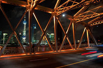Shanghai, the skyline at night by Thierry  Dehesdin
