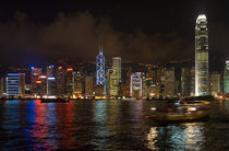 The Hong Kong island Skyline at night by Thierry  Dehesdin