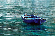 boat on turquoise harbor, Greece by Tom Dempsey