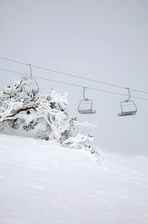 Empty chairlift on a cold morning - Falls Creek, Australia by Jess Gibbs