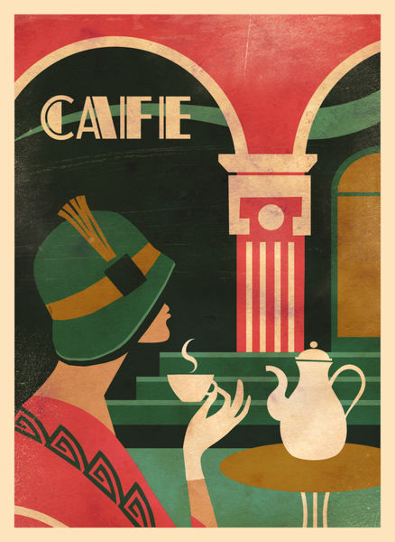 Caf art deco i graphics illustration art prints and for Posters art prints