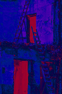 stairs in blue and red by Ricardo Anderson