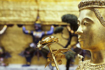 GILDED STATUE WITH LOTUS FLOWER