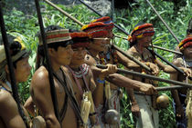 JIVARO INDIANS WITH BLOW GUNS  by Wolfgang Kaehler