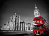 London. Big Ben and Double Decker Bus. by Alan Copson
