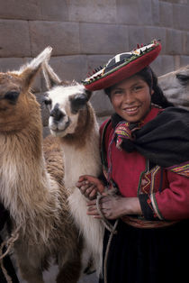 Quechua Woman with Llama by Wolfgang Kaehler