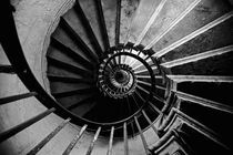 London, The Monument, Internal spiral staircase. by Alan Copson