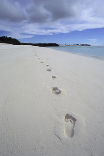 Footprints on White Sand Beach by Wolfgang Kaehler