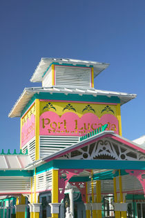 BAHAMAS-Grand Bahama Island-Lucaya: Port Lucaya Marketplace- Entranceway / Sign