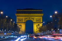 France, Paris. The Arc de Triomphe and the Champs Elysees at twilight by Danita Delimont