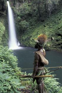 Asia, Papua New Guinea, Highland territory. Huli Wigman at Ambua Falls von Danita Delimont