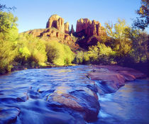 USA, Arizona,  Sedona.  Cathedral Rock reflecting in Oak Creek.  Credit as von Danita Delimont