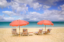 TURKS & CAICOS, Providenciales Island, Grace Bay Beach chairs on Grace Bay von Danita Delimont