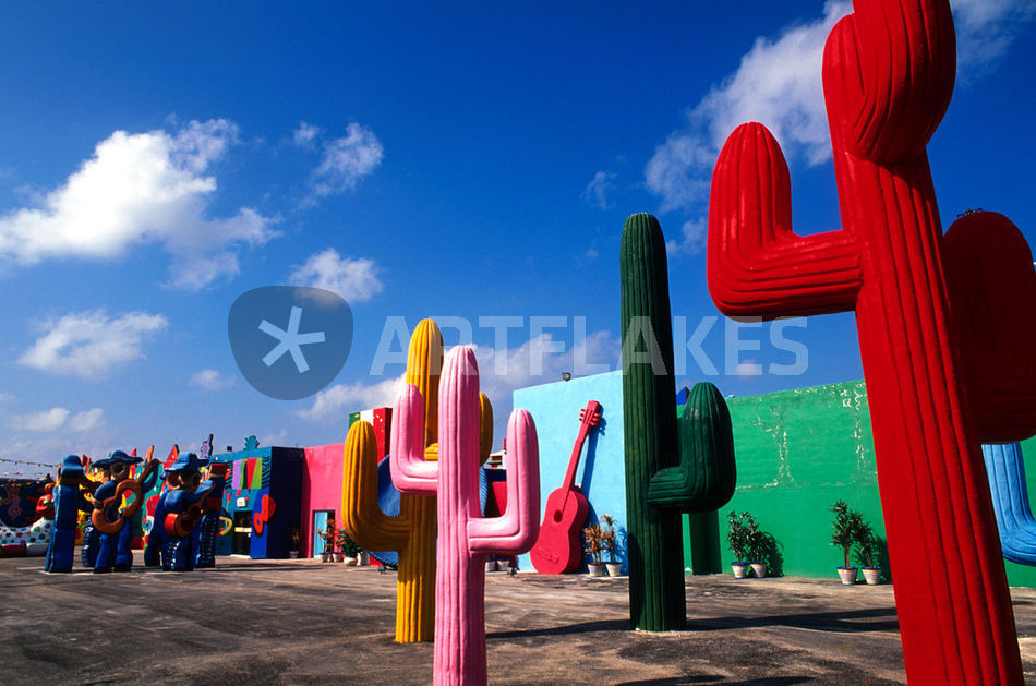 colorful cactus artwork outside of cancun mexico picture art