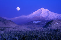 Moonrise over Mt Hood winter, Oregon by Danita Delimont