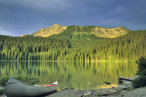 Canoe at Little Theriault Lake near Eureka Montana by Danita Delimont