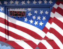 USA, Washington, Moses Lake. Flag wall mural on a business. Credit as von Danita Delimont