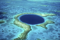 Aerial view of Blue Hole, Lighthouse Reef, Belize, Central America. by Danita Delimont