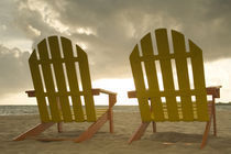 Lounge chair on beach facing Caribbean Sea, Placencia, Stann Creek District von Danita Delimont