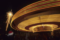 North America, USA, Washington, Seattle.  Christmas star and carousel at night by Danita Delimont