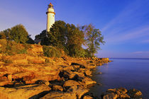 Pointe Aux Barques Lighthouse at sunrise on Lake Huron by Danita Delimont