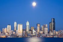 WA, Seattle, Seattle skyline and Elliott Bay with full moon rising by Danita Delimont