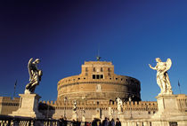 Europe, Italy, Rome. Castel Saint Angelo and bridge of angels by Danita Delimont