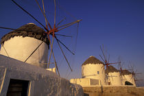 Europe, Greece, Cyclades Islands, Mykonos Mykonos windmills, sunrise by Danita Delimont