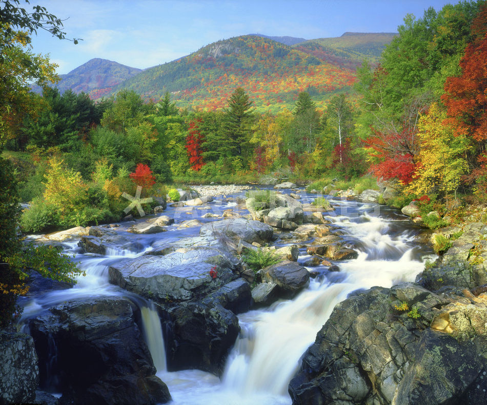USA, New York. A waterfall in the Adirondack Mountains