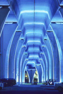 Bridge, underneath lighting, Port of Miami, Florida. von Danita Delimont