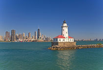 Passing by Chicago Harbor Lighthouse.USA by Danita Delimont