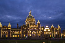 CANADA, British Columbia, Victoria. Evening, Victoria Inner Harbour. by Danita Delimont