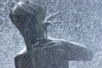 Fountain of faith, man and bird von Susan Isakson