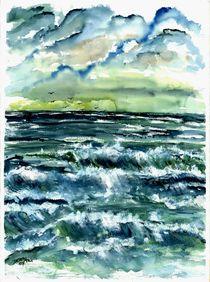 waves seascape beach art print by Derek McCrea