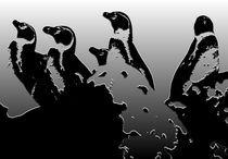 Penguins-on-rock-sky-background-plaster