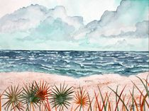 tropical beach and palms by Derek McCrea