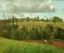 C.Pissarro, Landschaft mit pflueg.Bauer von AKG  Images
