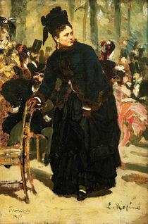 Ilja Repin, Dame auf Stuhllehne stuetzend by AKG  Images