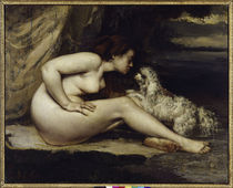 G.Courbet, Frauenakt mit Hund by AKG  Images