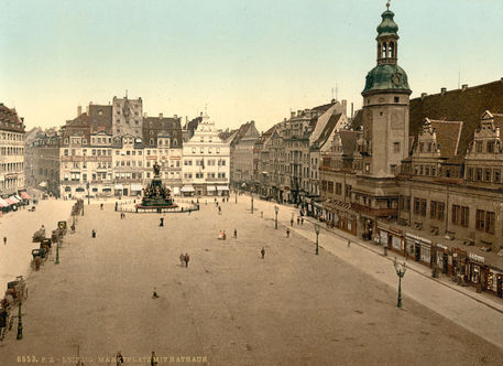 leipzig markt mit rathaus photochrom picture art prints and posters by akg images. Black Bedroom Furniture Sets. Home Design Ideas