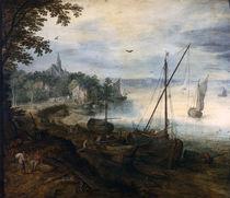J.Brueghel d.Ae./ Flusslandsch.Holzhacker von AKG  Images