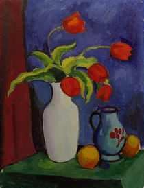 August Macke, Rote Tulpen in weisser Vase by AKG  Images