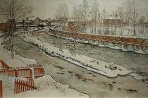 C.Larsson, Die Holzrinne. Winterbild by AKG  Images