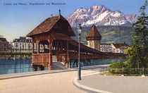 Luzern, Kapellbruecke / Photochrom von AKG  Images